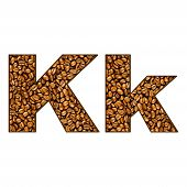image of letter k  - coffee letter on white - JPG