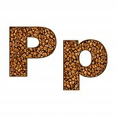 pic of letter p  - coffee letter on white - JPG