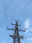 Electrical Powerlines (electricity Pylons), Blue Sky, Wire Cables poster