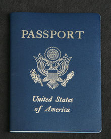 picture of passport cover  - Cover of an American passport on a dark gray background - JPG