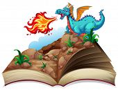 pic of dragon  - Illustration of a story book and a dragon - JPG