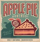 picture of pie  - Retro poster vector design concept with apple pie - JPG