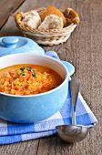 picture of vegetable soup  - Soup of red lentils and vegetables in a ceramic plate - JPG