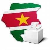foto of suriname  - detailed illustration of a ballotbox in front of a map of Suriname - JPG