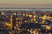 pic of italian alps  - Telephoto aerial view of sunset in Venice from Campanila bell tower at piazza San Marco - JPG