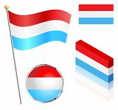 pic of flag pole  - Luxembourg flag on a pole badge and isometric designs vector illustration - JPG