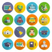picture of school building  - School icon flat set with blackboard laptop students isolated vector illustration - JPG