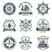 picture of yachts  - Nautical label sea and ocean yacht journey black emblems set isolated vector illustration - JPG