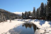 foto of blanket snow  - A snow blanket over Vallecito Creek in Vallecito - JPG