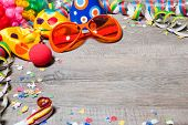 stock photo of birthday hat  - Colorful carnival background with garlands - JPG