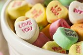 pic of valentine candy  - Colorful Candy Conversation Hearts for Valentine - JPG