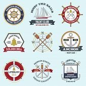 stock photo of nautical equipment  - Nautical labels set with premium quality seafarer emblems isolated vector illustration - JPG