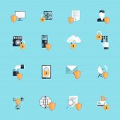 stock photo of social-security  - Information security online data secure transfer and hosting icon flat set isolated vector illustration - JPG