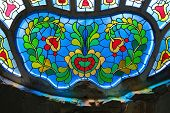 picture of synagogue  - stained glass in Synagogue of Subotica - JPG