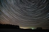 picture of north star  - The movement of stars around the pole star over the field - JPG