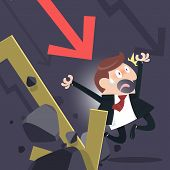 stock photo of divergent  - Cartoon of business man falling with the collapse of the economy - JPG