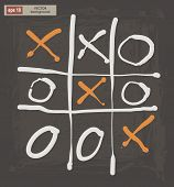 stock photo of tic  - Vector drawing of tic tac toe on a dark background - JPG