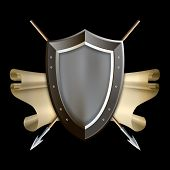 stock photo of spears  - Medieval riveted shield with scroll of parchment and two spears on black background - JPG