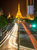 stock photo of yangon  - Sule Pagoda at night central of Yangon Myanmar - JPG