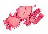 foto of pink eyes  - Crushed pink eye shadow isolated on white background - JPG