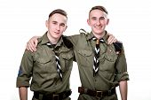 picture of boy scouts  - Two scout brothers together isolated on white background - JPG