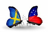 picture of samoa  - Two butterflies with flags on wings as symbol of relations Sweden and Samoa - JPG