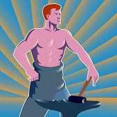 foto of anvil  - Illustration of a blacksmith with hammer and anvil with sunburst in the background done in the retro style - JPG