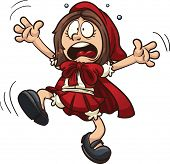 image of little red riding hood  - Scared little Red Riding Hood - JPG