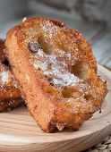 foto of french toast  - One french toast on a wooden plate - JPG
