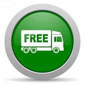 picture of free-trade  - free delivery green glossy web icon