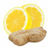 stock photo of backround  - Fresh ginger root and lemon sections isolated on white backround - JPG