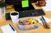 image of lunch box  - homemade lunch box at modern stylish work place - JPG