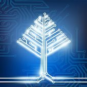 foto of circuits  - Vector circuit board in the form of a tree - JPG