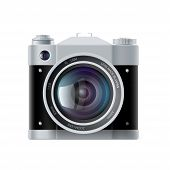 image of analogy  - icon analog film camera isolated on white background - JPG