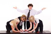 image of unawares  - business team and dull man working together at office - JPG