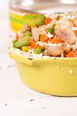 stock photo of saucepan  - Frozen vegetables in an old enamel saucepan before cooking - JPG