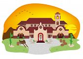 pic of hacienda  - A House with Spanish or Hispanic Architecture on a countryside desert during sunset - JPG