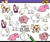 pic of brain teaser  - Cartoon Illustration of Finding Two Exactly the Same Pictures Educational Game for Preschool Children with Farm Animals - JPG