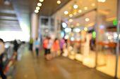 stock photo of shopping center  - Blur or Defocus image of People enter entrance door of Shopping Center - JPG