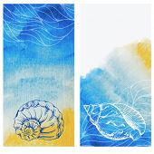 stock photo of beach shell art  - Vintage cards with hand drawn sea elements  - JPG