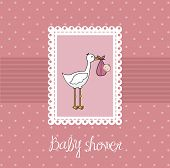 stock photo of stork  - pink baby shower card with stork and baby - JPG