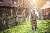 image of kettling  - Senior farmer carrying kettle for milk on his back - JPG