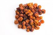 picture of rowan berry  - Dried rowan berries on a white background - JPG