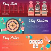 stock photo of coin slot  - Casino Horizontal Banner Set  - JPG