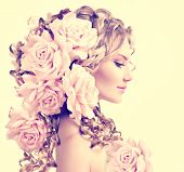 picture of perm  - Beauty girl with rose flowers hairstyle isolated on white background - JPG