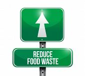 image of reduce  - reduce food waste road sign concept illustration design over white background - JPG