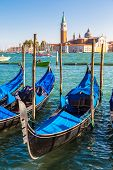 picture of gondola  - Gondolas in a summer day in Venice Italy - JPG