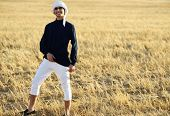stock photo of arab man  - Arabic young man in nature - JPG