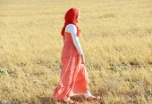 image of muslim kids  - Muslim girl enjoying in nature - JPG