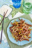 stock photo of spam  - Hawaiian stir fry made with spam and bean sprouts - JPG